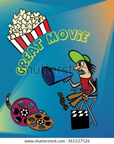 Great movie. Cartoon character working in the field of cinema. Shooting of the film. The Director yells, gives instructions. - stock vector