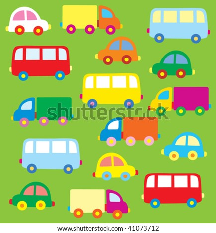 great number of cars on a green background
