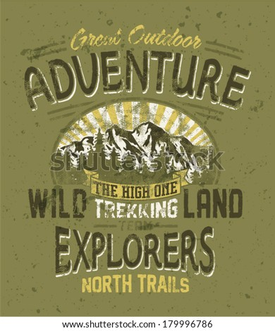 Great outdoor adventure - Vintage vector artwork for boy wear in custom colors, grunge effect in separate layers - stock vector