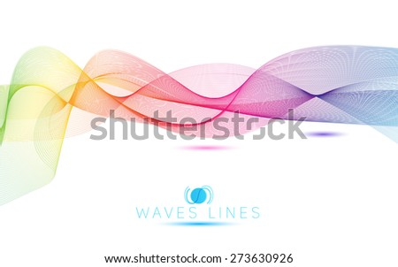 great rainbow waves colorful gradient light blend line bright abstract vector - stock vector