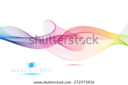great rainbow waves colorful gradient light blend line vector abstract - stock vector