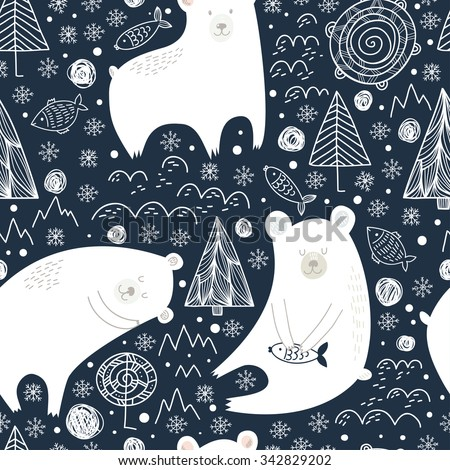 Great seamless pattern with cute polar bears, fishes and trees at night in winter. Can be used for different childish design, fabrics, wrapping and etc. Vector background. - stock vector