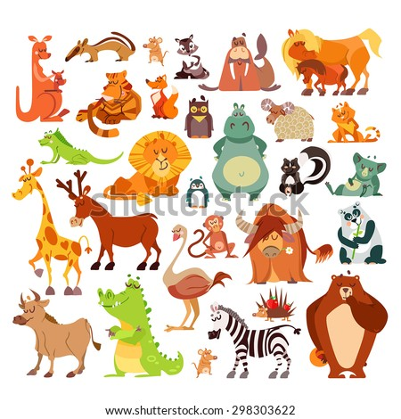 Great set of cartoon animals, birds from around the world. African animals,forest animals as signs,icons,design elements.Vector illustrations isolated on white background. Education, kid design - stock vector