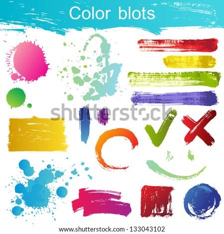 Great set of color blots - stock vector