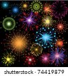 great set of colorful fireworks - stock vector