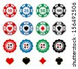 Great set of gambling chips for your designs!  - stock photo
