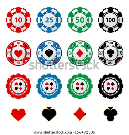 Great set of gambling chips for your designs!  - stock vector