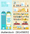 Great set with office people, their emotions, communications, roles to create your own office and office team in modern flat style. Office life constructor for design, infographics - stock vector