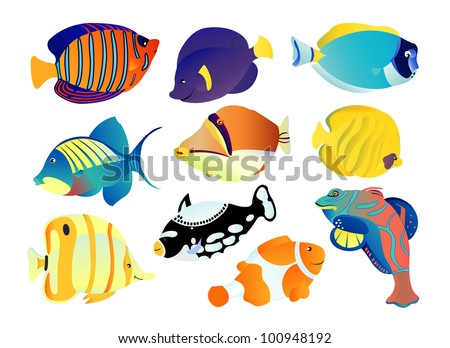 Great tropical fish collection on white background, vector illustration - stock vector