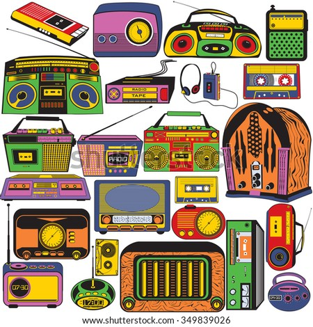 Great vector collection of different radio and cassettes colored in pop art style. - stock vector
