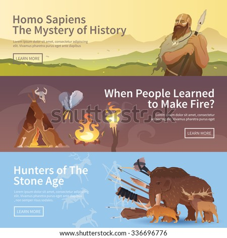 Great vector set of web banners for your projects. Primitive man. Ice age. Cavemen. Stone age. Neanderthals. Homo sapiens. Extinct species. Evolution. Hunting. Flat design. - stock vector