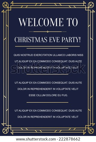 Great Vintage Invitation Sign in Art Deco or Nouveau Gatsby Epoch 1920's Gangster Era Vector - stock vector