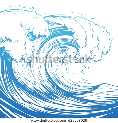 Great Wave Hand Drawin...