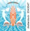 Great white sharks. Surf logo. Vector illustration. - stock vector