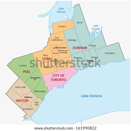 greater toronto area map - stock vector