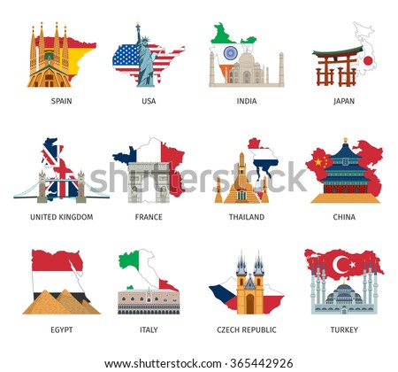 Greatest landmarks in the world with state flags and national colors flat pictograms collection abstract isolated vector illustration   - stock vector