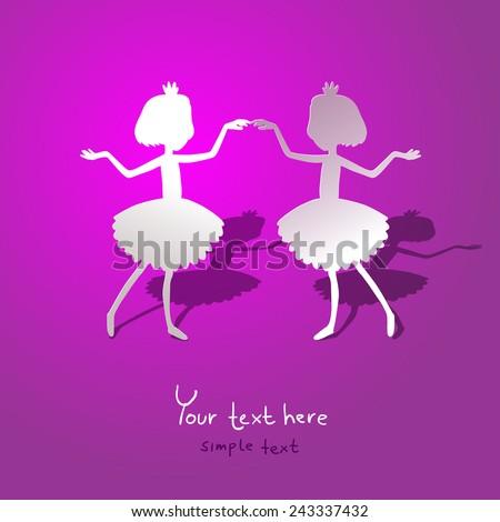 Greating card with silhouette paper dancing ballerinas - stock vector