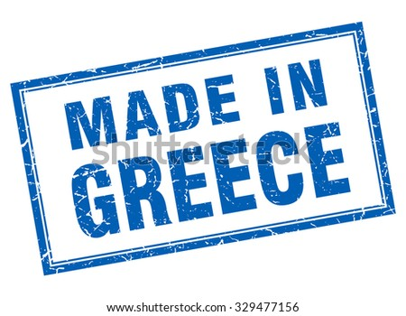 Greece blue square grunge made in stamp