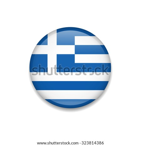 Greece Button Flag - stock vector