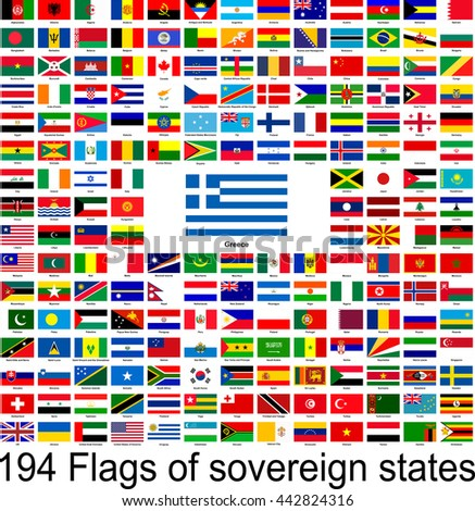 Greece, collection of vector images of flags of the world