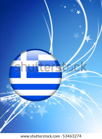 Greece Flag Button on Abstract Light Background Original Illustration - stock vector