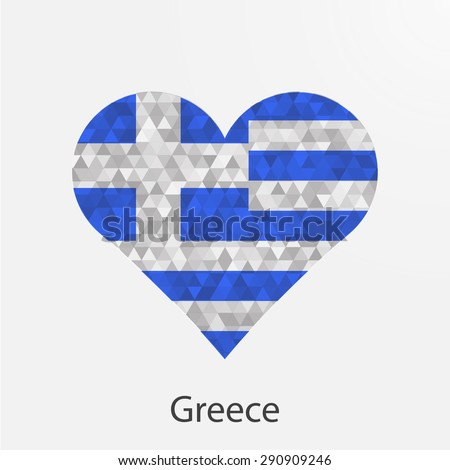 Greece flag heart in geometric,mosaic polygonal style.Love to country.Abstract tessellation,background. Vector illustration EPS10 - stock vector