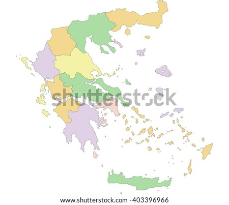 Greece - Highly detailed editable political map. - stock vector