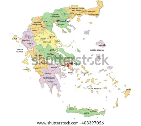 Greece - Highly detailed editable political map with labeling. - stock vector
