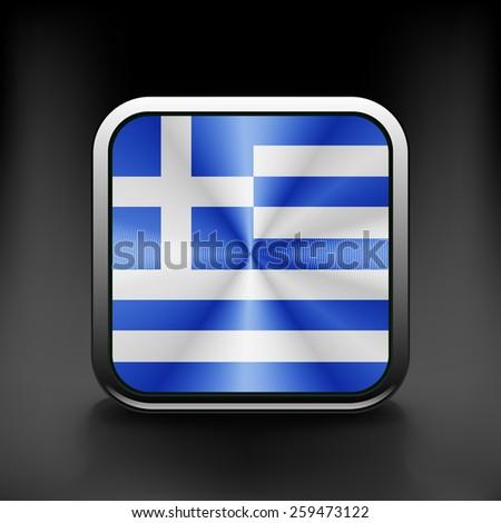 Greece icon flag national travel icon country symbol button. - stock vector