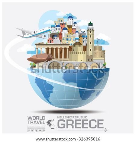 Greece Landmark Global Travel And Journey Infographic Vector Design Template - stock vector