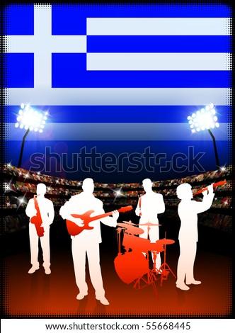 Greece Live Music Band on Stadium Concert Background with Flag Original Illustration - stock vector