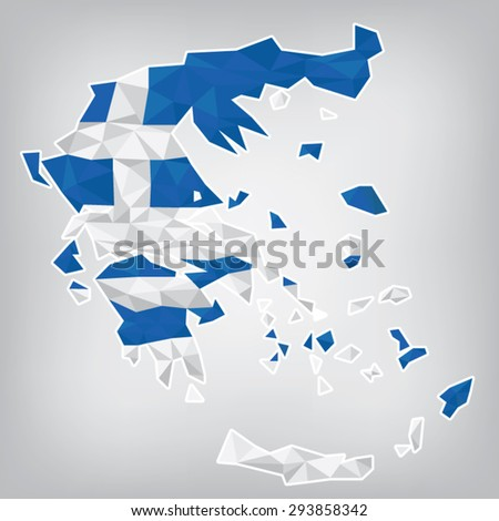 Greece low poly map - stock vector