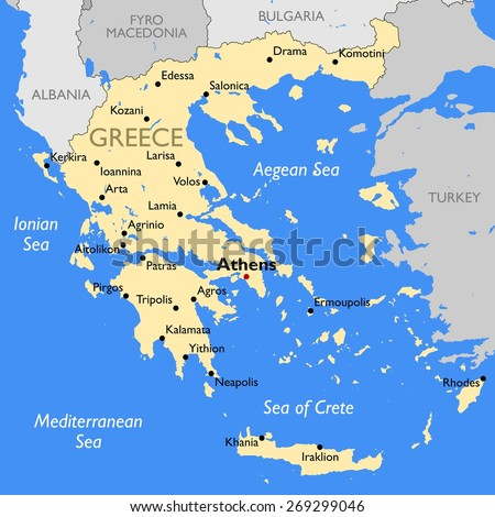 Greece map - stock vector