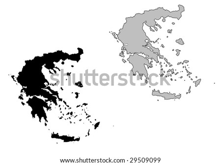 Greece map. Black and white. Mercator projection. - stock vector