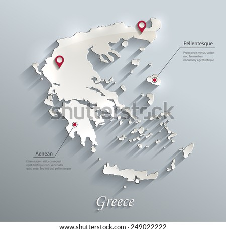 Greece map blue white card paper 3D vector infographics  - stock vector
