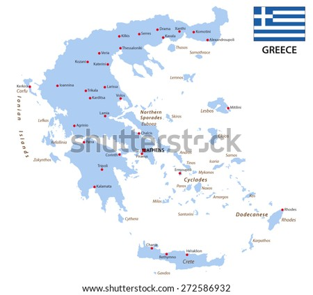 greece map with flag - stock vector