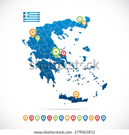 Greece Map with Icons - stock vector