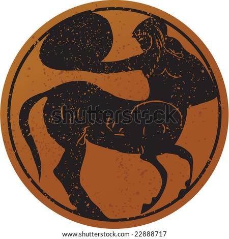 Greece mural painting,  Centaur. Editable vector image - stock vector