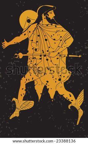 Greece mural painting,  Greek Soldier. Editable vector image - stock vector