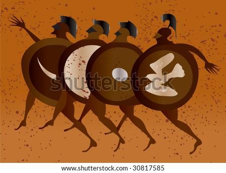 Greece mural painting,  Greek Soldiers. Editable vector image - stock vector