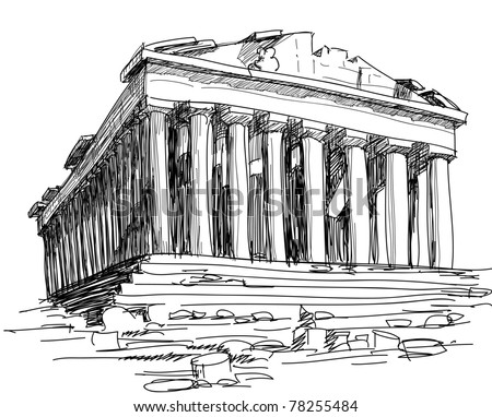 Greek Architecture Drawing greece parthenon sketch stock vector 78255484 - shutterstock