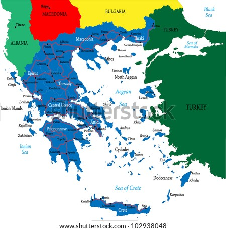 Greecepolitical Map Stock Vector Shutterstock - Political map of greece