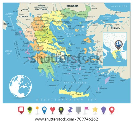 Greece Political Map No Text Detailed Stock Vector - Political map of greece