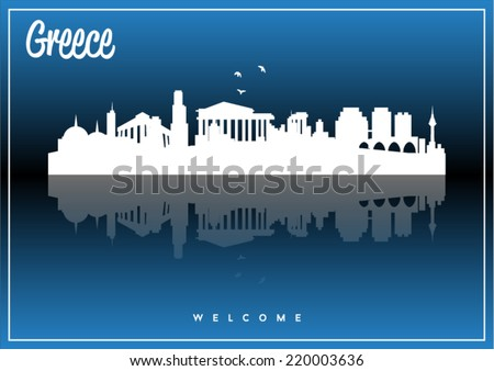 Greece skyline silhouette vector design on parliament blue and black background. - stock vector