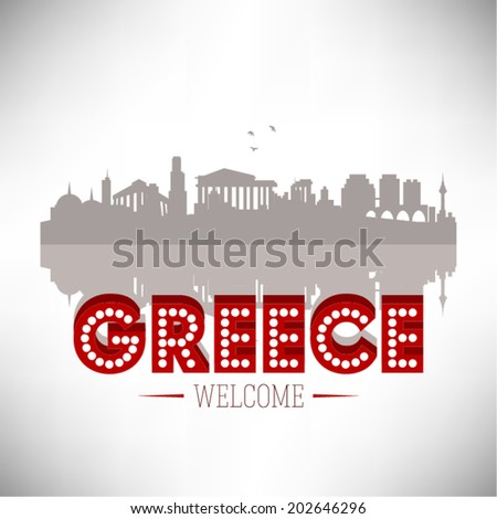 Greece Skyline Silhouette vector illustration. - stock vector