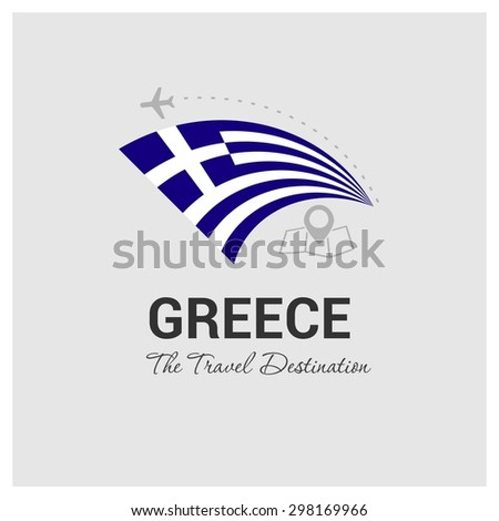 Greece The Travel Destination logo - Vector travel company logo design - Country Flag Travel and Tourism concept t shirt graphics - vector illustration - stock vector