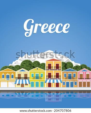 Greece, Travel  illustration - stock vector