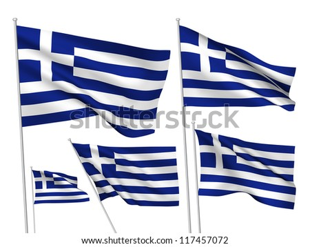Greece vector flags. A set of 5 wavy 3D flags created using gradient meshes. - stock vector