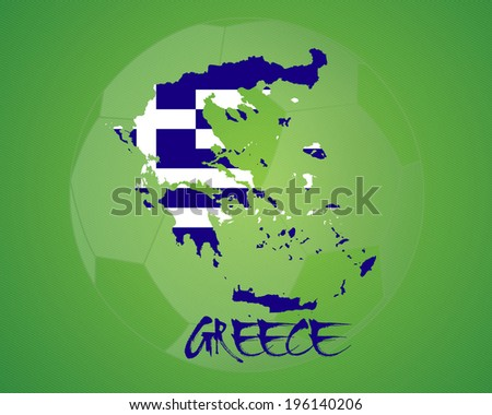 GREECE vector illustration, map with soccer ball - stock vector
