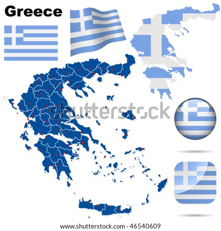 Greece vector set. Detailed country shape with region borders, flags and icons isolated on white background. - stock vector